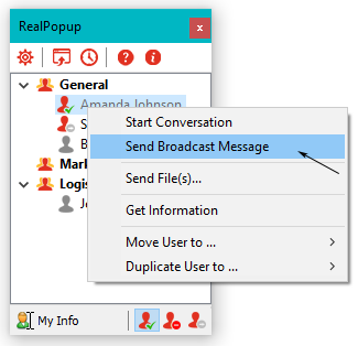 How to broadcast message to network users